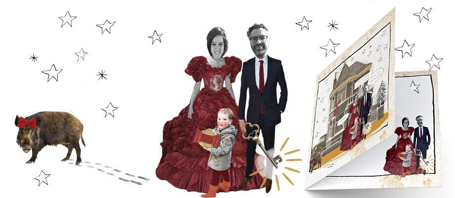 Illustratie verhuis kerst kaart